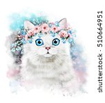 Stock photo cute cat watercolor cat illustration t shirt print greeting card poster kitten wreath flower 510664951