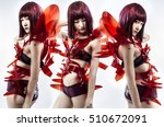 trio  asian girl with red dress ... | Shutterstock . vector #510672091