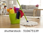 plastic bucket with cleaning... | Shutterstock . vector #510675139