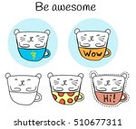 set of stickers with a cute cat ... | Shutterstock .eps vector #510677311
