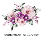 Stock photo watercolor flowers floral illustration flower in pastel colors pink rose branch of flowers 510679459