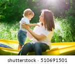 happy family having fun outdoors | Shutterstock . vector #510691501