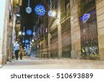 BARCELONA, SPAIN - DECEMBER 26, 2015: Christmas decorations and street lights in Barcelona, Spain. Night time. - stock photo