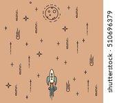 rocket flies through space.... | Shutterstock .eps vector #510696379