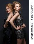 two beautiful girls in evening...   Shutterstock . vector #510702844