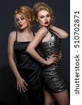two beautiful girls in evening...   Shutterstock . vector #510702871