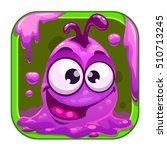app icon with funny cute purple ...