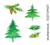 christmas trees and spruce... | Shutterstock . vector #510719437