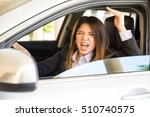 furious woman in a suit yelling ... | Shutterstock . vector #510740575
