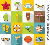 summer rest icons set. flat... | Shutterstock . vector #510746431