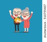 senior people with golden piggy ... | Shutterstock .eps vector #510755407