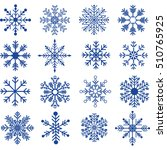 blue snowflakes silhouette... | Shutterstock .eps vector #510765925