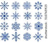 blue snowflakes silhouette... | Shutterstock .eps vector #510765925