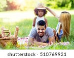 family enjoying picnicking in... | Shutterstock . vector #510769921