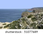 Cape St. Vincent in the Algarve, south-west coast of Portugal. - stock photo