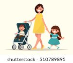 motherhood. happy young mother... | Shutterstock .eps vector #510789895