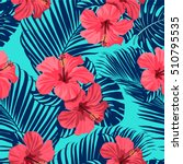 tropical flowers and palm... | Shutterstock .eps vector #510795535
