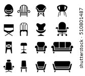 chair icon set in front view | Shutterstock .eps vector #510801487