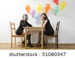 two woman wearing funny... | Shutterstock . vector #51080347