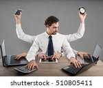 businessman multitasking | Shutterstock . vector #510805411