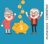 senior people with golden piggy ...   Shutterstock .eps vector #510808564