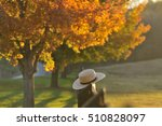 Small photo of Amish straw hat laying over farm fence post on hazy fall evening in Pennsylvania
