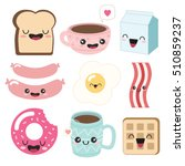 cute breakfast icons. funny... | Shutterstock .eps vector #510859237