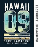 hawaii typography with beach... | Shutterstock .eps vector #510868795