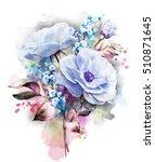 watercolor flowers. floral... | Shutterstock . vector #510871645