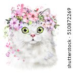 Stock photo cute watercolor cat illustration t shirt print card poster cat wreath of flower and splash 510872269
