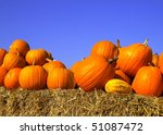 Pumpkins On Bales Of Straw...