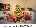 decorated christmas tree and... | Shutterstock . vector #510877411