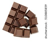 dark chocolate bar and cubes... | Shutterstock . vector #510885859
