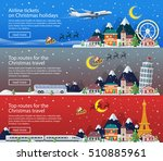 merry christmas banners in flat ... | Shutterstock .eps vector #510885961
