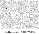 sea coloring book line art... | Shutterstock . vector #510896839
