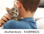 Stock photo child with kitten on hands at home 510898021