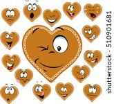 sweet gingerbread heart with a... | Shutterstock .eps vector #510901681
