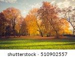 colorful autumn park on sunny...   Shutterstock . vector #510902557