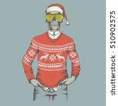 vector christmas skull  in... | Shutterstock .eps vector #510902575
