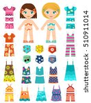 paper doll with a set of summer ... | Shutterstock .eps vector #510911014