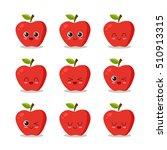 cute  funny and happy apple set ...   Shutterstock .eps vector #510913315