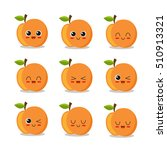 cute  funny and happy peach set ... | Shutterstock .eps vector #510913321