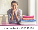 beautiful young woman is... | Shutterstock . vector #510915757