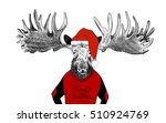 hand drawn funny christmas... | Shutterstock . vector #510924769