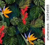 tropical leaves and flowers of... | Shutterstock .eps vector #510934555