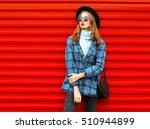 fashion pretty woman wearing a... | Shutterstock . vector #510944899