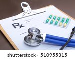stethoscope head and silver pen ... | Shutterstock . vector #510955315