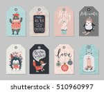 christmas tags set  hand drawn... | Shutterstock .eps vector #510960997