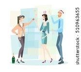 businesspeople celebrate merry... | Shutterstock .eps vector #510963655