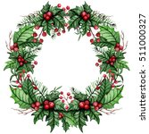 christmas wreath with... | Shutterstock . vector #511000327